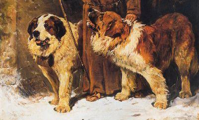 San Bernardos al rescate (detalle), antes de 1913. Óleo sobre tela, 81 x 66,5 cm  John Emms