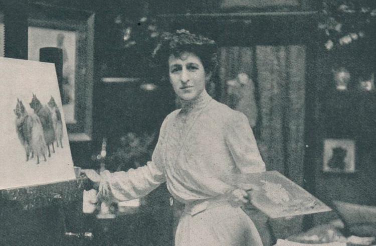 Alice Maud Earl Retratos perros