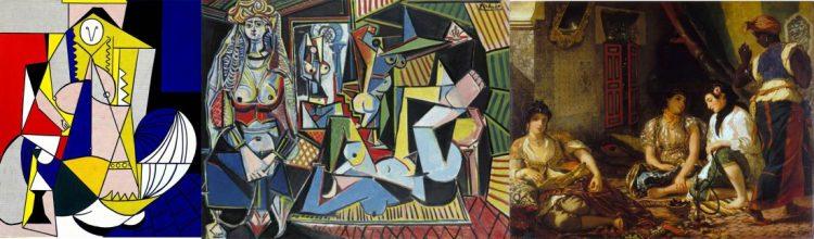 Mujer de Argel ,1963 Roy Lichtenstein (izq.) Mujer de Argel ,1955 Picasso (centro) y Mujeres de Argel, 1934 Delacroix (dcha.)
