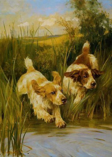 Cocker Spaniels, Arthur Wardle (1860-1949). Óleo sobre tela, 61x45.5 cm